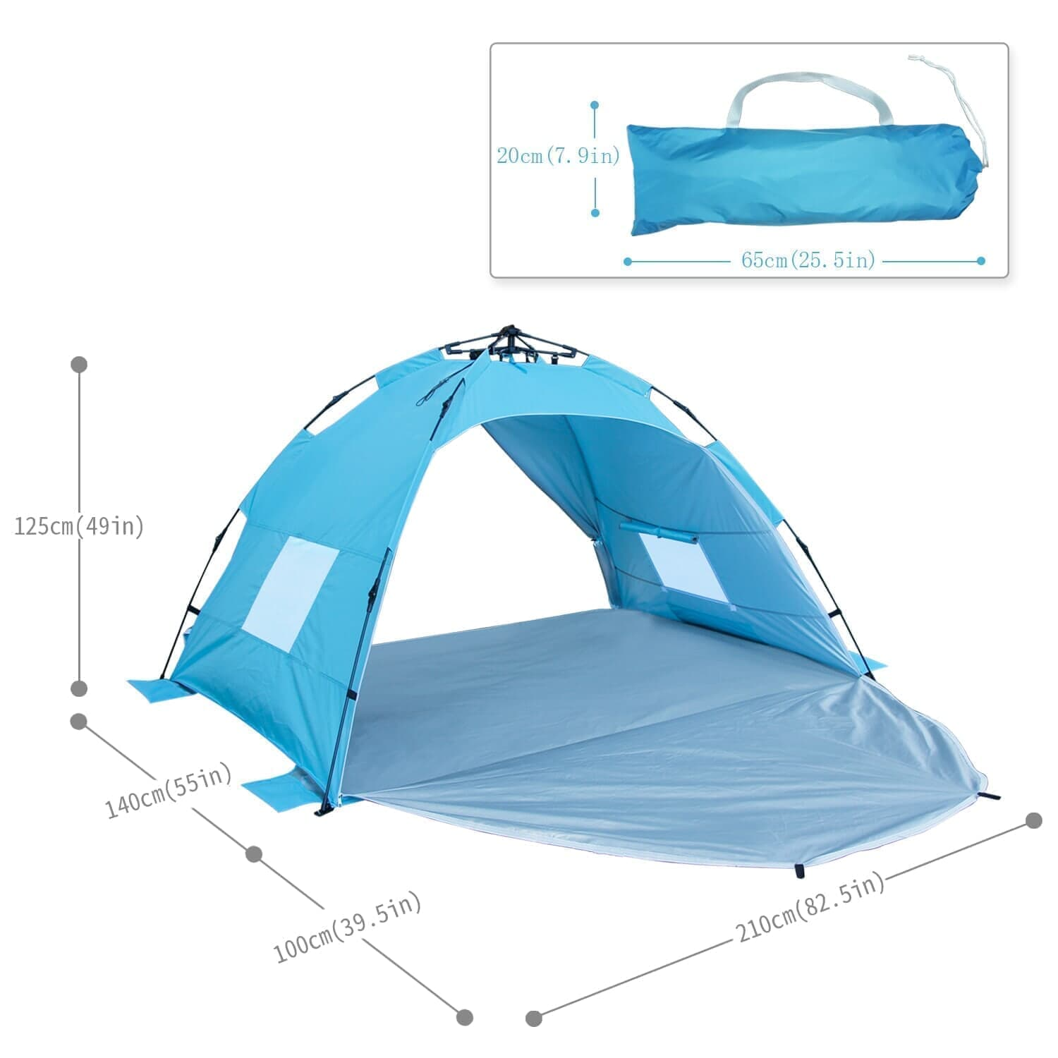 Homfu Sun shelter Beach Tent 3 or 4 Person Automatic Camping Tent with UV Protection pop up Beach Shade for Outdoor Activities Easy Set upALPIKA Beach Tent Outdoor Camping Tent Sun Shelter Family Tent For 2-4 Person26.5