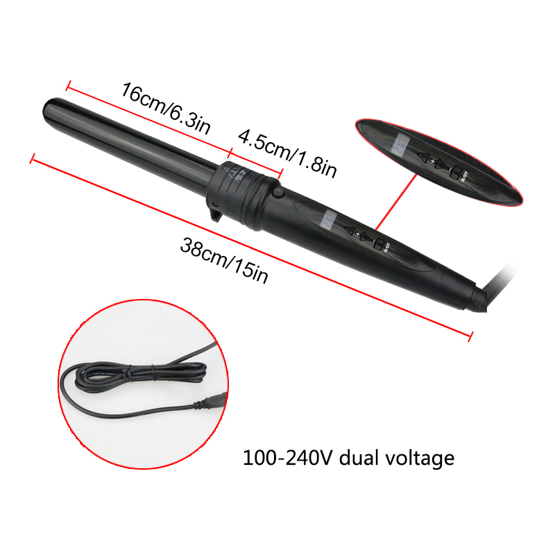 LCD Display Hair Curling Iron Suite Combination Interchangeable Hair Curler 3 in 1 Curling Wand Set with 3 Interchangeable Hair