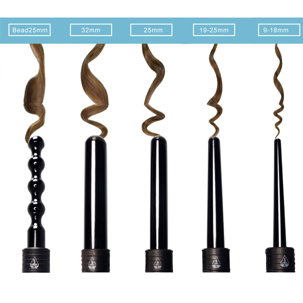 LCD Display Hair Curling Iron Suite Combination Interchangeable Hair Curler 6 in 1 Curling Wand Set with 6 Interchangeable Hair