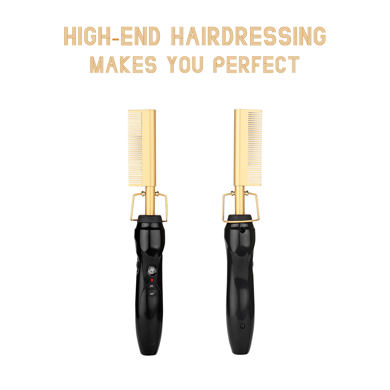 Homfu Electric Hot Comb Hair Straightening Heat Pressing Comb Ceramic Curling Flat Iron Curlers Designed Hair Hot Comb Straightener,Portable Travel Anti-Scald Beard Straightener Press Comb