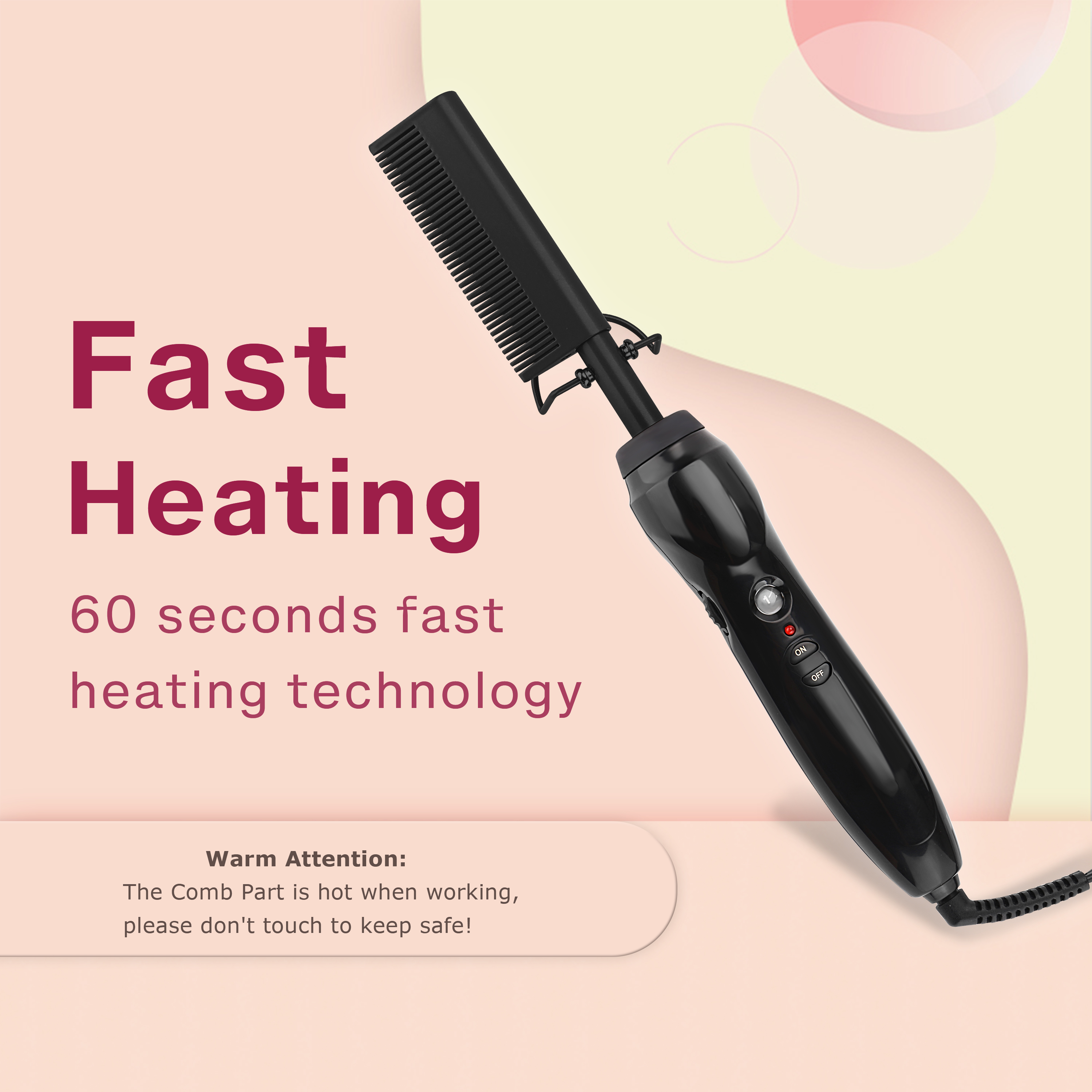Homfu Electric Hot Straightening Heat Pressing Comb Ceramic Curling Flat Iron Curler Designed Hair Straightener for Natural Black,Anti-Scald Beard Straightener Press Comb (Black)