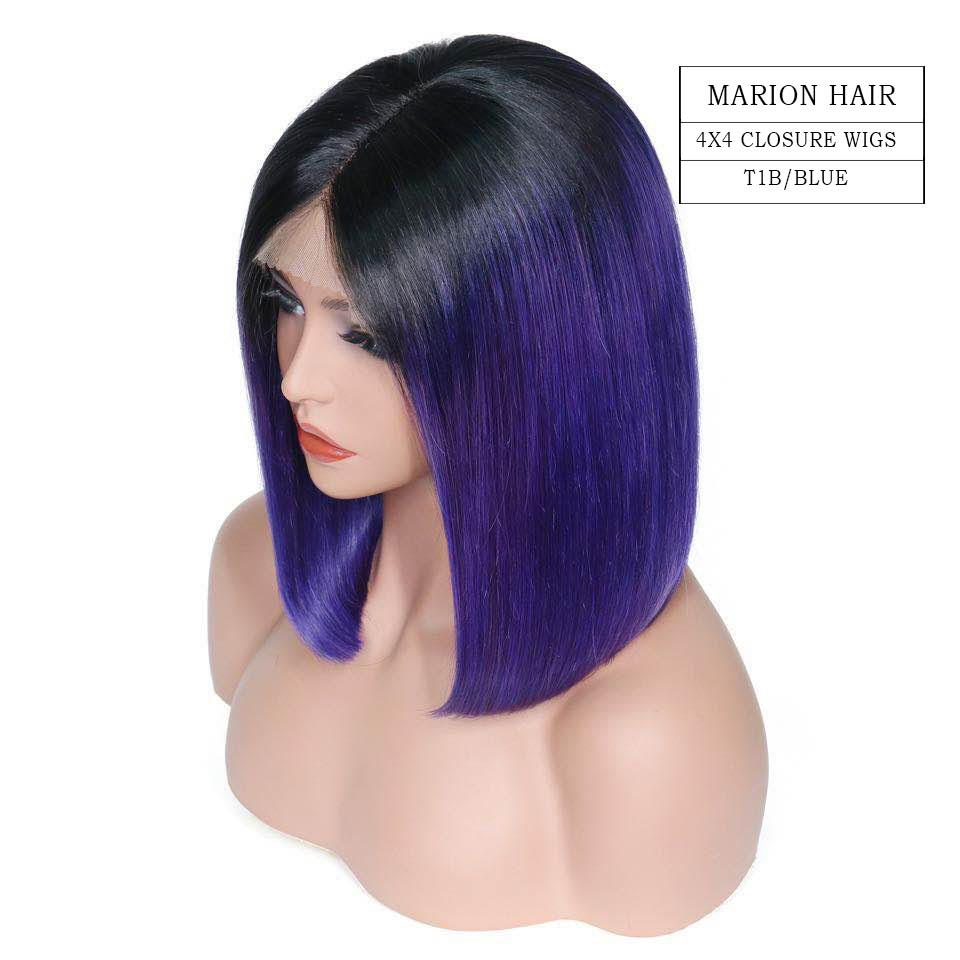 Bob blue closure wigs