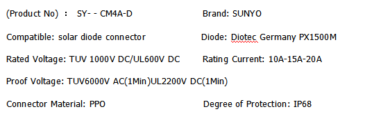 MC4 compatible solar diode connector manufacturer in China 15A 20A PX1500M IP68 waterproofMC4 compatible solar diode connector manufacturer 15A 1000V IP68