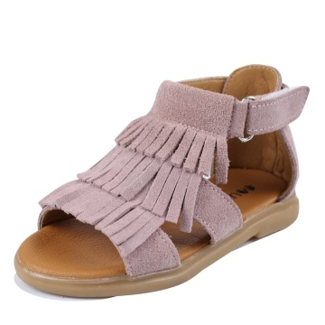 Girls Sandals Genuine Leather Toddler Girls Sandals Tassels Summer Flats Walking Shoes with Non Slip Rubber Sole