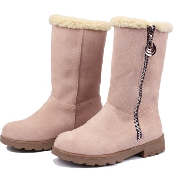 Girls Winter Snow Boots Suede Fold Mid-Calf Fur Lined Warm Zipper Boots for Toddler/Little Kid/Big Kid Girl Boots