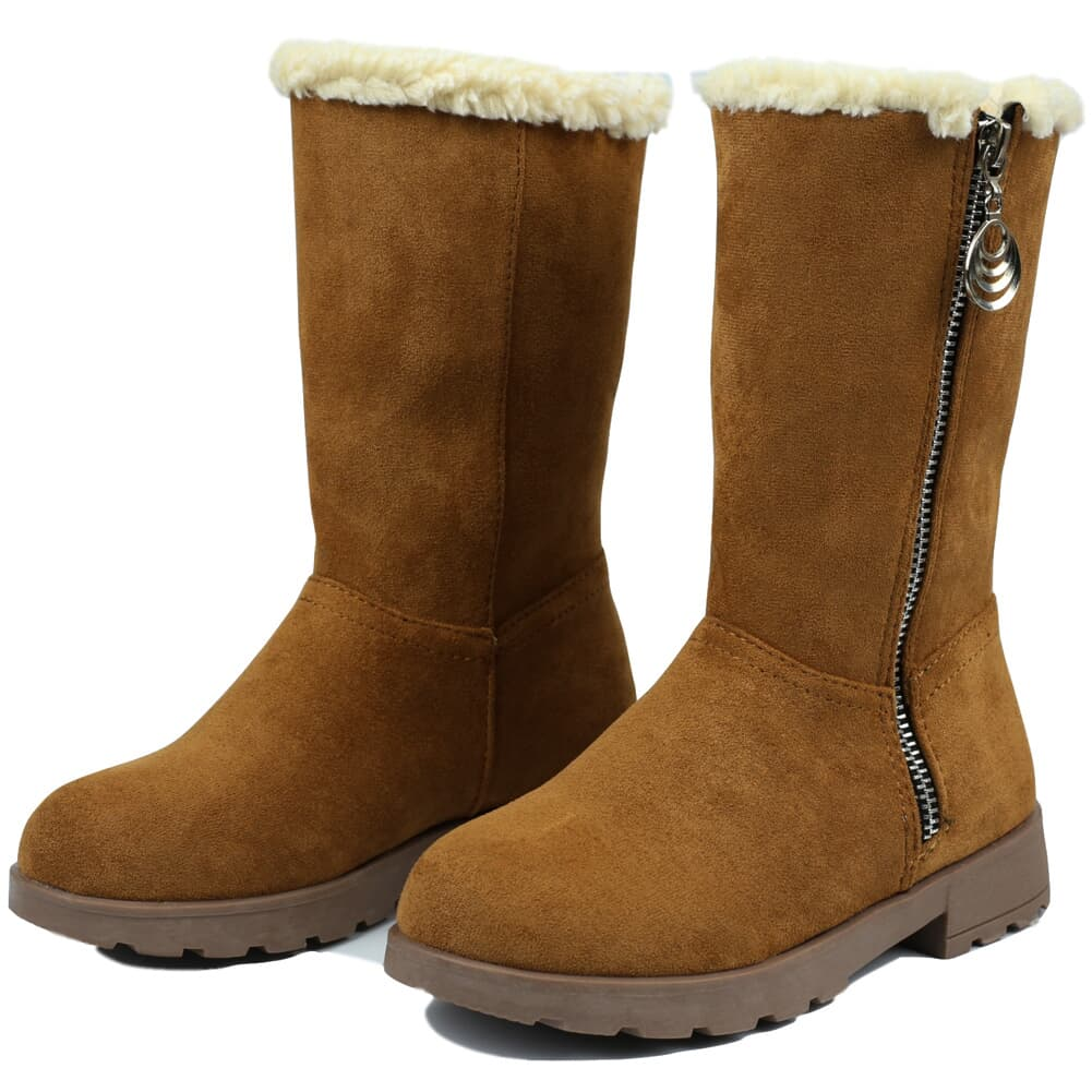 Women faux Suede Fur Trim Round Toe Mid Calf Winter Warm Boots Casual Shoes new
