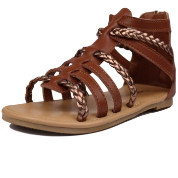 Toddler Girls Gladiator Sandals with Braided Strappy Girls Sandals Summer Shoes with Zipper for Baby Girls/Little Girls