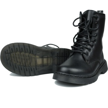 Kids Leather Waterproof Boots for Girls Boys Lace-Up Side Zipper Outdoor Combat Mid Calf Boots with Non-Slip Rubber Sole for Baby/Toddler/Little kid Girl Boots