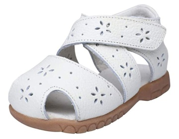 Baby Girls Sandals Flower Leather Toddler Sandals with Rubber Sole Closed-Toe White Summer Shoes for Kids Girls