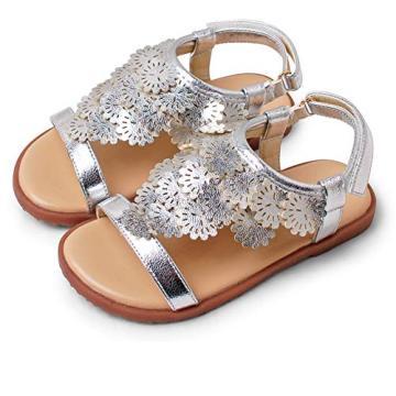 Toddler Little Girls Sandals Open-Toe Adjustable Ankle Strap Baby Girls Summer Dress Shoes