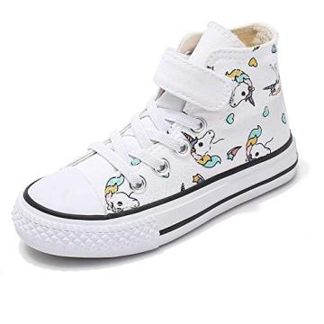 Toddler Little Girls High Top Sneaker Unicorn Canvas Shoes Girls Sneakers