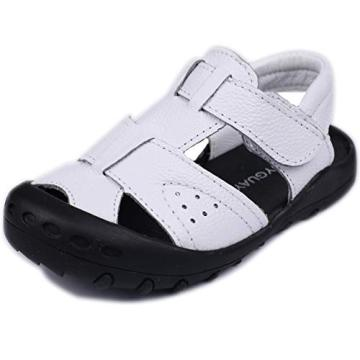 Toddler Boys Sandals Closed Toe Sandals for Kids Baby Boys Genuine Leather Summer Shoes with Non-Slip Rubber Sole