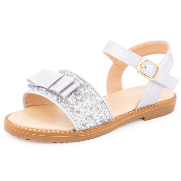 Girls Bow Glittery Sandals Hook and Loop Flat Summer Dressy Shoes for Toddler/Little Kid