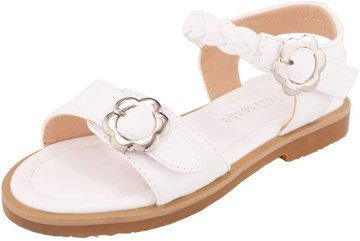 Girls Sandals Open Toe Fashion Princess Flat Sandals with Metal Flower Buckle Decoration Sandals Summer Dress Toddler Sandals Shoes(Toddler /Little Girls)