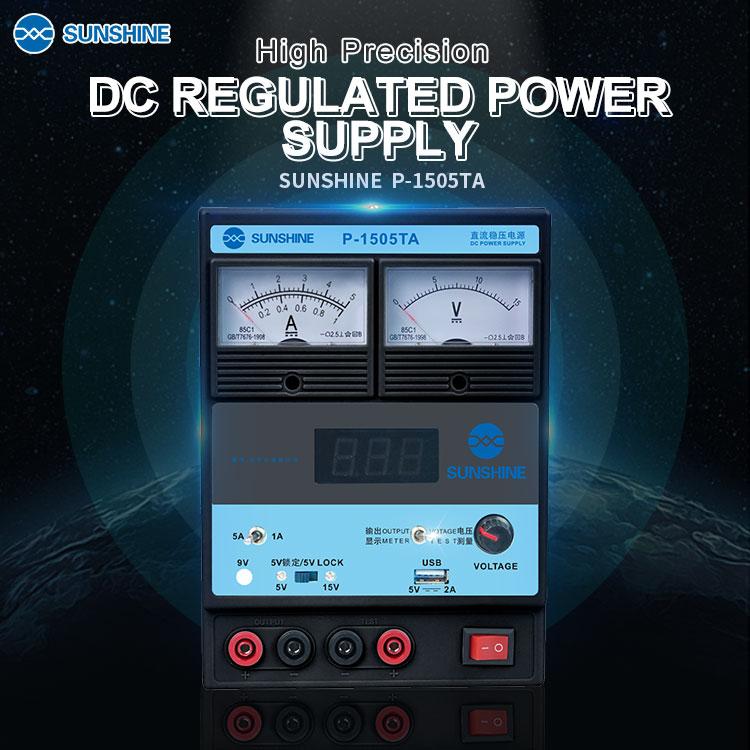 SUNSHINE P-1505TA High Precision DC Power Supply 15V 5A USB Output SUNSHINE P-1505TA High Precision DC Power Supply 15V 5A USB Output