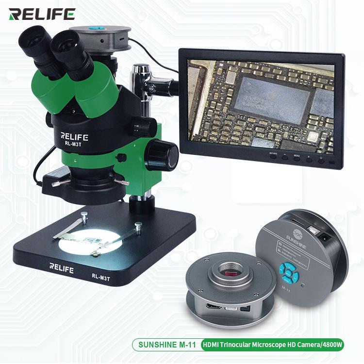 RELIFE RL-M3T-B1+M11 48 Megaplxed HDMI Camera + HDMI screen 0.7-4.5x Trinocular HD Stereo MicroscopeRELIFE RL-M3T-B1+M11 48 Megaplxed HDMI Camera + HDMI screen 0.7-4.5x Trinocular HD Stereo Microscope