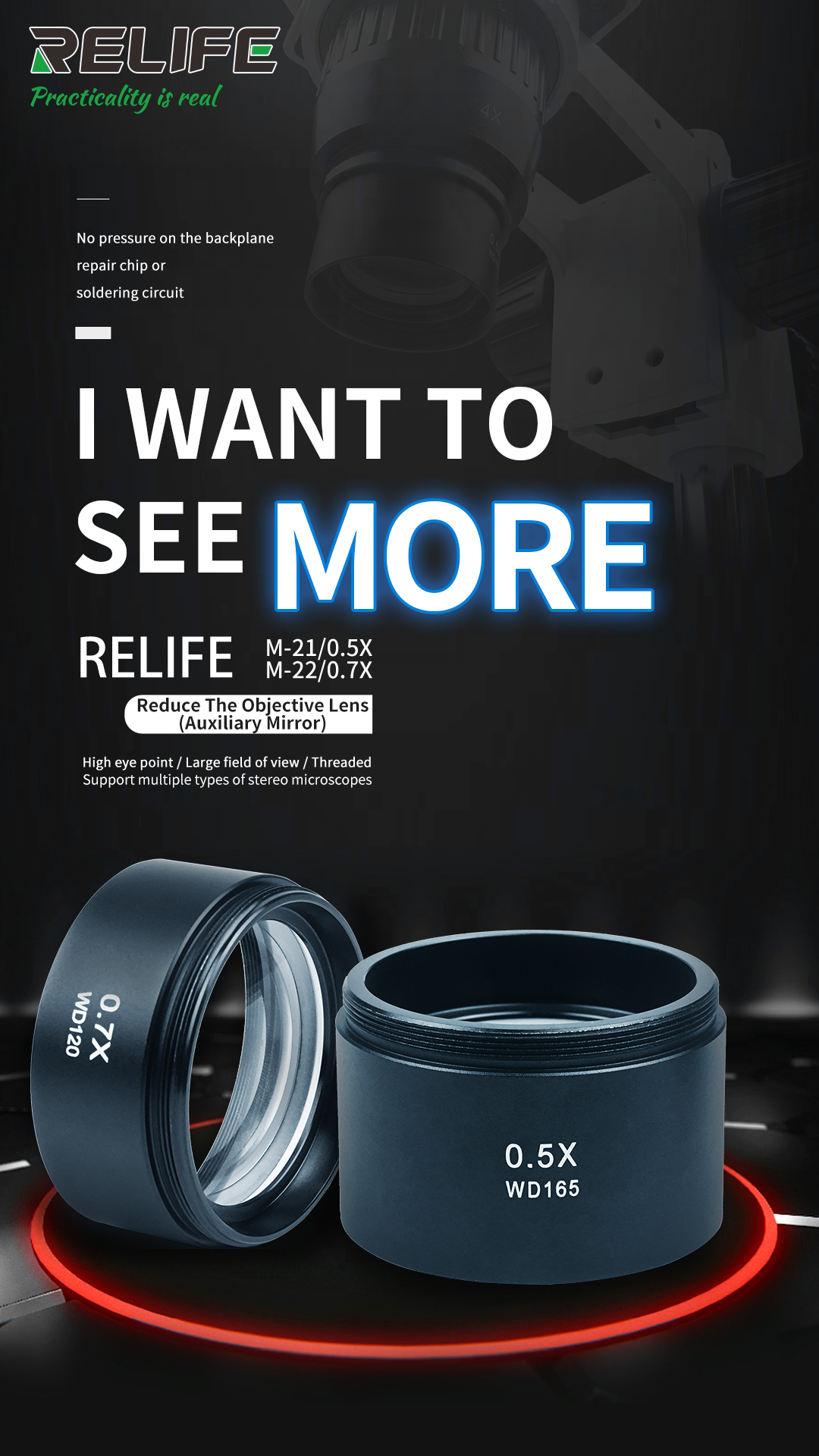 RELIFE M-21 0.5x Auxiliary Lensreife M-21 0.5x Auxiliary Lens
