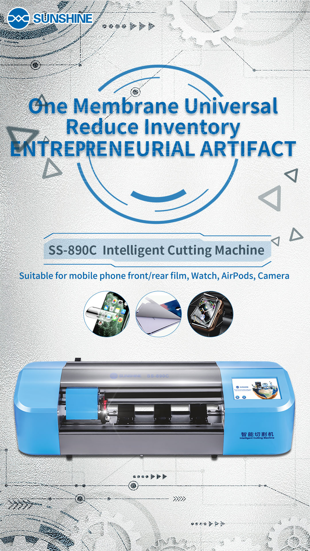 SUNSHINE SS-890C Phone and Table Pad Screen Protector Cutting Machine and Cutter Head CoreSUNSHINE SS-890C Phone and Table Pad Screen Protector Cutting Machine and Cutter Head Core