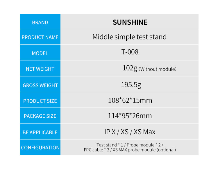 SUNSHINE T-008 X/XS/XS MAX  3 IN 1 Middle Board Testersunshine T-008 X/XS/XS MAX  3 IN 1 Middle Board Tester