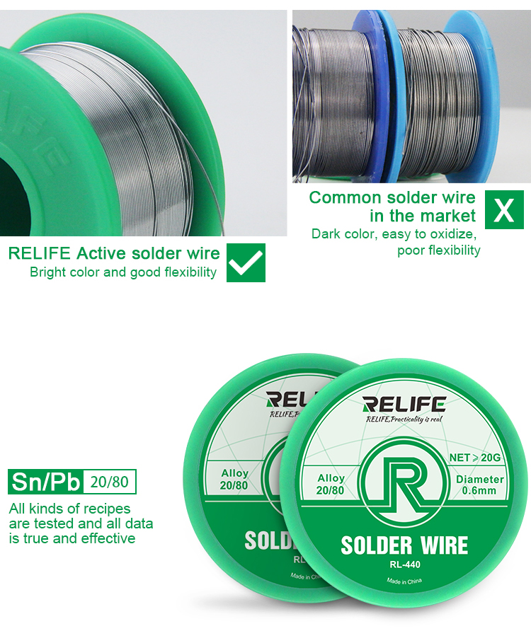 RELIFE RL-440 Soldering Wire 0.3MM 0.4MM 0.5MM 0.6MM 40G relife RL-440 Soldering Wire 0.3MM 0.4MM 0.5MM 0.6MM 40G