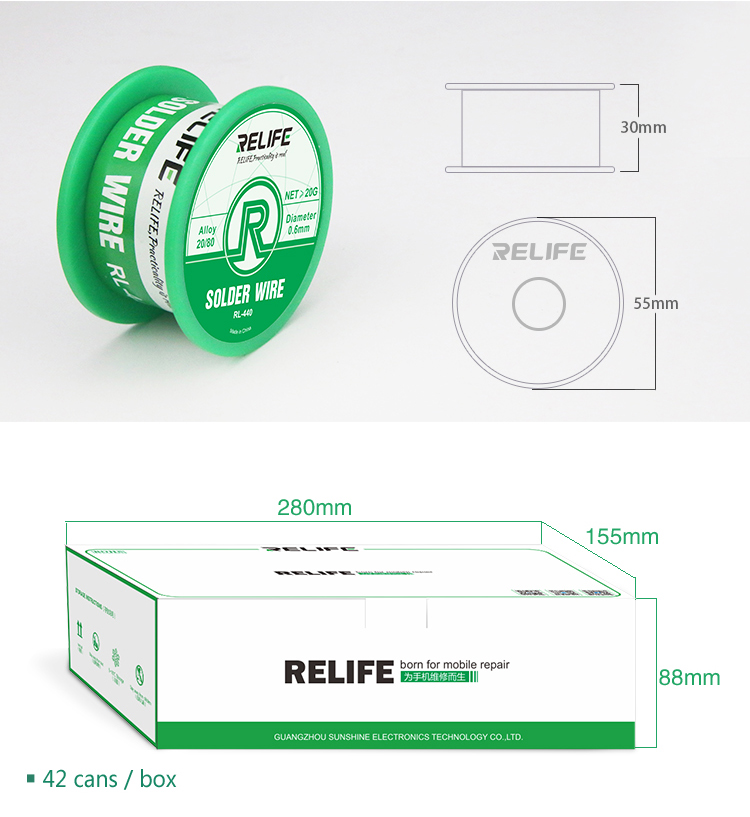 RELIFE RL-440 Soldering Wire 0.3MM 0.4MM 0.5MM 0.6MM 40Grelife RL-440 Soldering Wire 0.3MM 0.4MM 0.5MM 0.6MM 40G