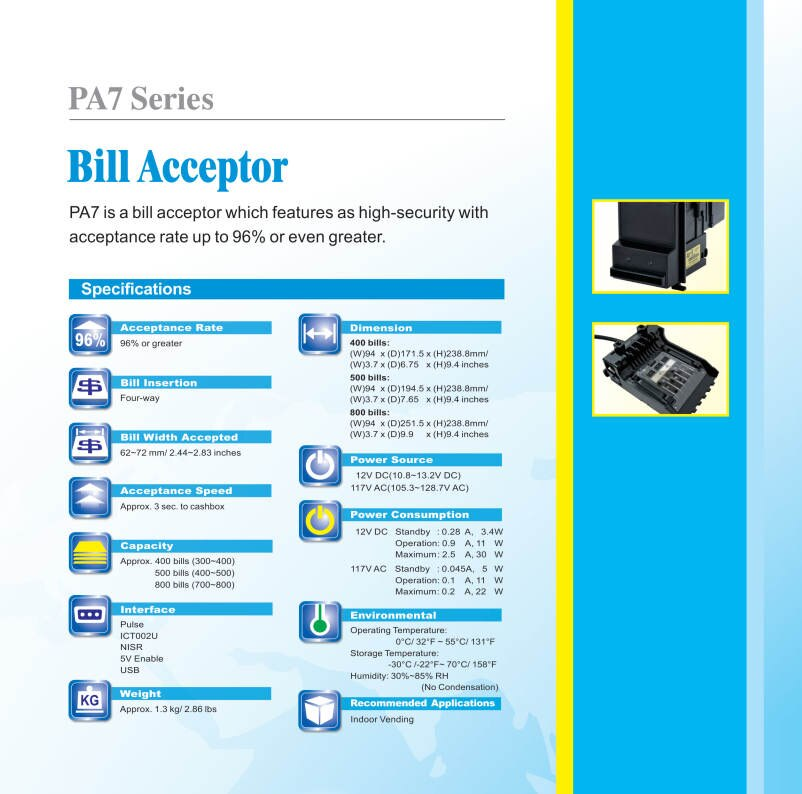 Fish Game Machine Accessories Four-Way Bill Insertion Acceptance Auto-Calibrating Easy Maintenance ICT PA7 Bill AcceptorFish Game Machine Accessories Four-Way Bill Insertion Acceptance Auto-Calibrating Easy Maintenance ICT PA7 Bill Acceptorfish game machine accessories
